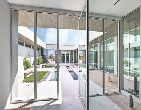 pivot door in Kolbe's VistaLuxe Collection AL line, which offers a sleek, modern profile